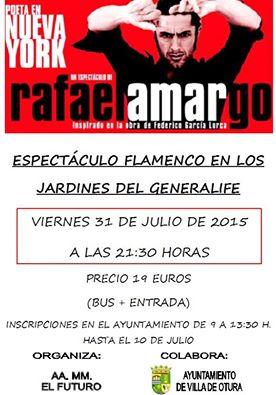 Cartel del Espectáculo flamenco en los Jardines del Generalife