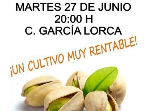 Charla sobre el cultivo del pistacho, martes 27 a las 20.00h