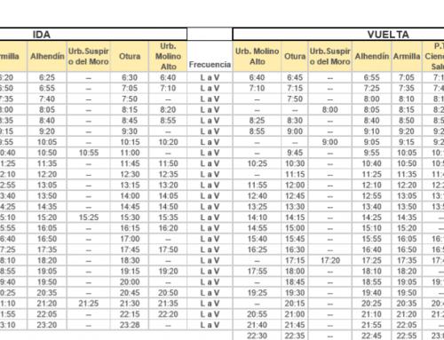 Nuevos horarios de la línea de autobús 160 (Granada-Alhendín-Otura)