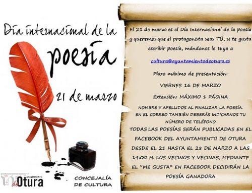 La Concejalía de Cultura celebrará el Día Internacional de la Poesía con un concurso en redes