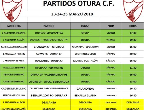 Partidos del Otura C.F. en el fin de semana del 23 al 25 de marzo