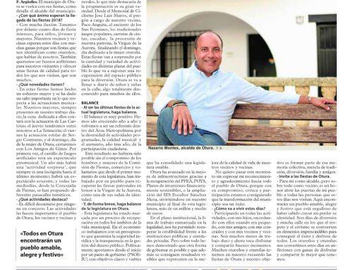 Entrevista del Alcalde de Otura, Nazario Montes, hoy 4 de septiembre, en el periódico Ideal con motivo de las Fiestas Patronales.
