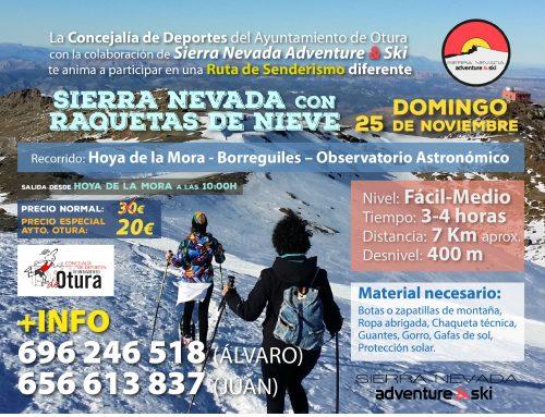 La Concejalía de Deportes del Ayuntamiento de Otura con la colaboración de Sierra NEvada & Ski te anima a participar en una Ruta de Senderismo diferente