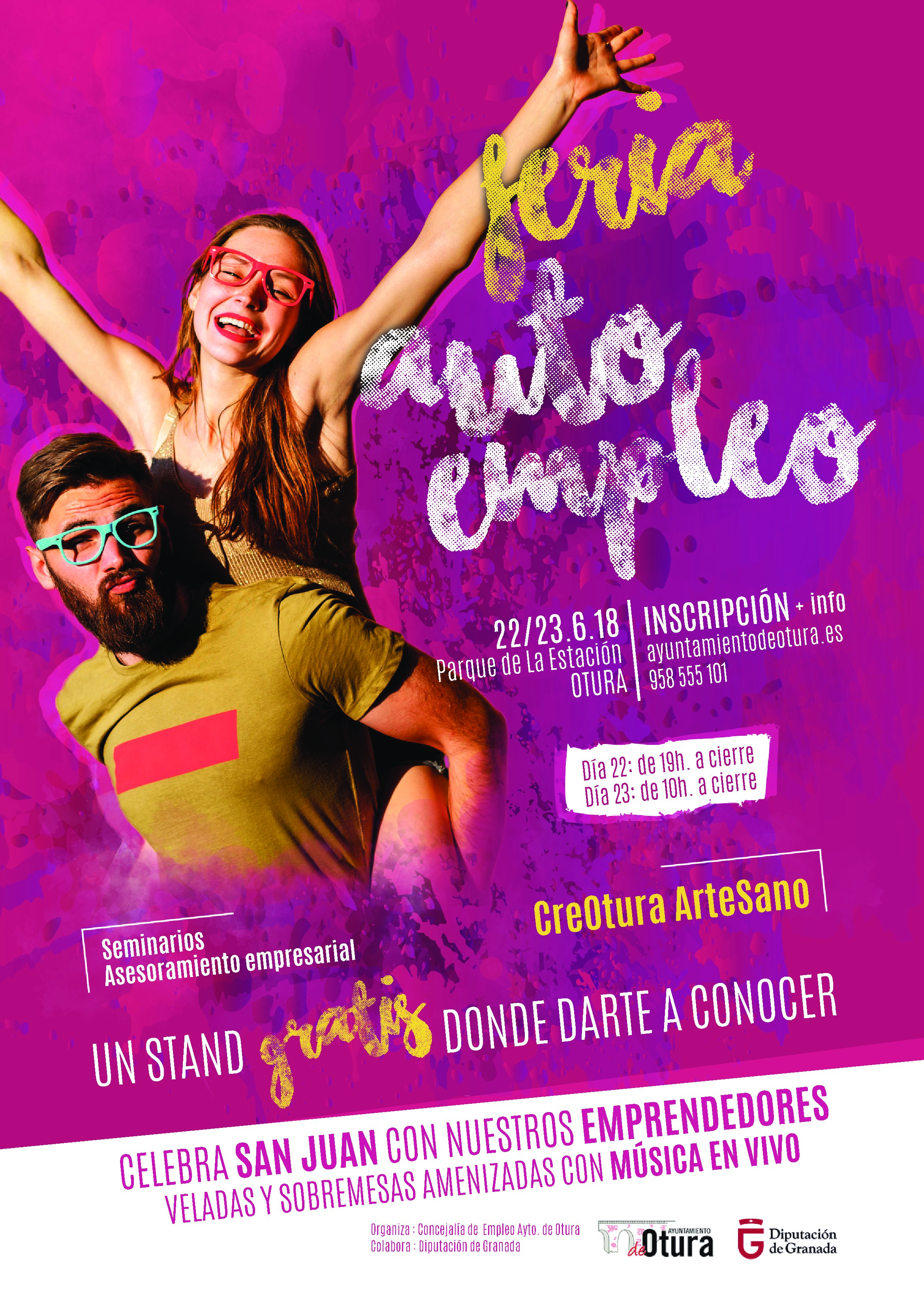 La Concejalía de Empleo del Ayuntamiento de Otura, organiza con la colaboración de la Diputación Provincial de Granada, la I Feria creOtura ArteSano.